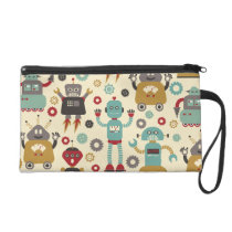 Fun Retro Robots Illustrated Pattern (Cream) Wristlet Purse