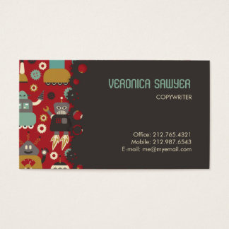 Fun Retro Robots Illustrated Pattern (Red) Business Card