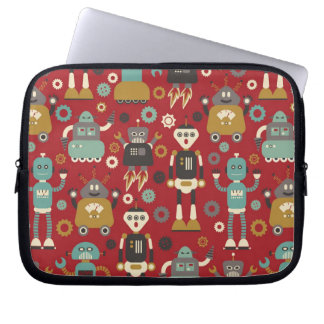 Fun Retro Robots Illustrated Pattern (Red) Computer Sleeve