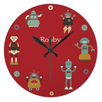 Fun Retro Robots Illustrated Pattern (Red) Large Clock