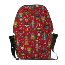 Fun Retro Robots Illustrated Pattern (Red) Messenger Bag