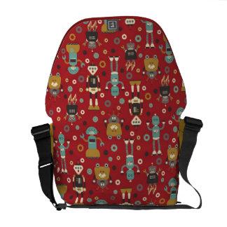 Fun Retro Robots Illustrated Pattern (Red) Messenger Bag