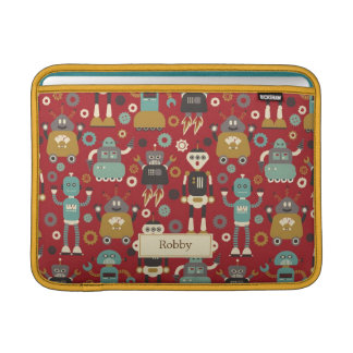 Fun Retro Robots Illustrated Pattern (Red) Sleeve For MacBook Air