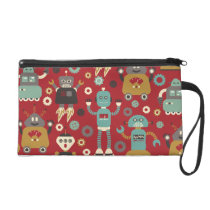 Fun Retro Robots Illustrated Pattern (Red) Wristlet Purse