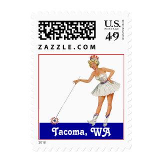 Fun Retro RWB Tacoma WA Washington Stamps Vintage