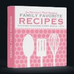 """Fun Retro Style Recipes Personalized 3 Ring Binder<br><div class=""""desc"""">Fun retro/vintage look kitchen utensils and polka dots on this personalized recipe binder - customize the text to make this awesome recipe binder entirely unique!</div>"""