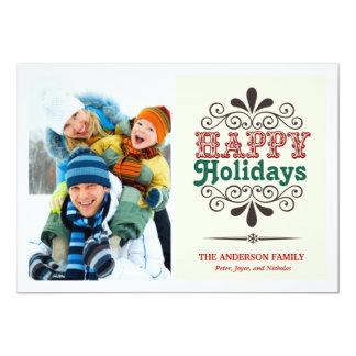 Fun Retro Type Happy Holidays Flat Photo Card