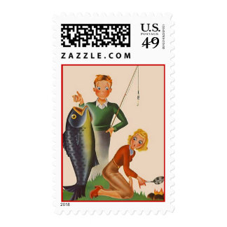 Fun Retro Vintage Fishing Camp Postage Stamps