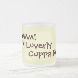 fun rhyming slang tea drinking text slogan design frosted glass coffee mug