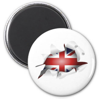 Fun Ripped Hole With Union jack Flag 2 Inch Round Magnet