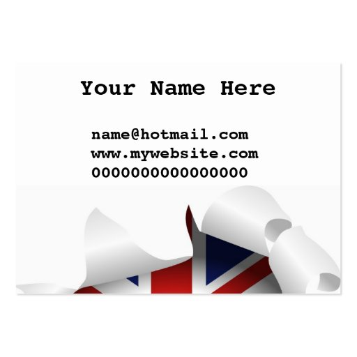Fun ripped hole with union jack flag business cards zazzle for Union made business cards