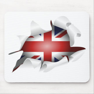 Fun Ripped Hole With Union jack Flag Mouse Pad