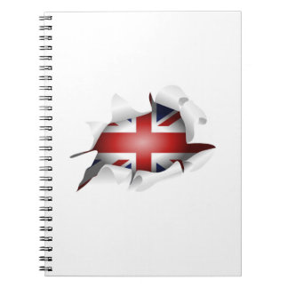 Fun Ripped Hole With Union jack Flag Spiral Note Books
