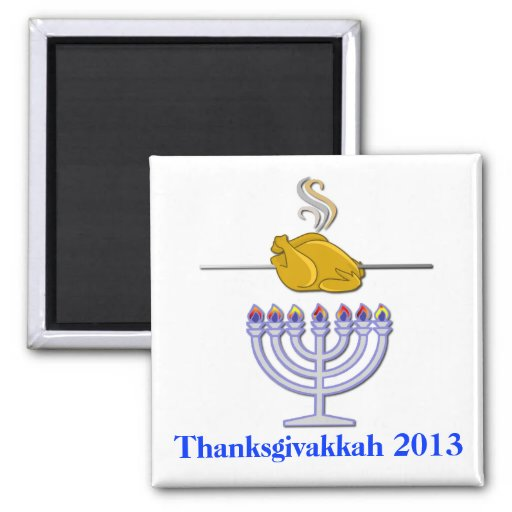 Fun Roasting Turkey Thanksgivakkah Commemorative Fridge Magnets