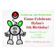Fun Robot Birthday Party Invitations
