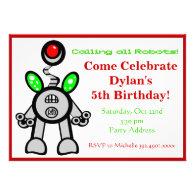 Fun Robot Birthday Party Invitations Red