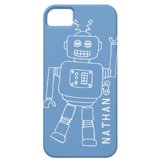 Fun robot named blue and white boys iphone 5 case
