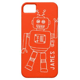 Fun robot named orange & white boys iphone 5 case