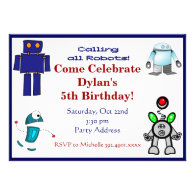 Fun Robots Birthday Party Invitations Blue