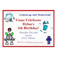 Fun Robots Birthday Party Invitations Red