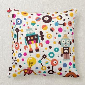Fun robots throw pillows