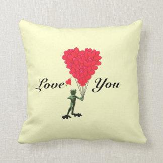 Fun romantic cartoon frog valentines love heart throw pillow