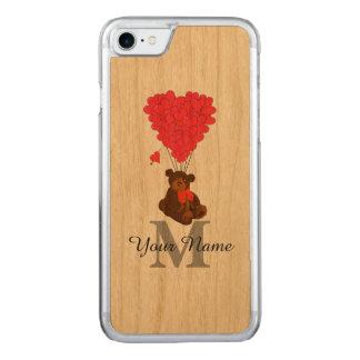 Fun romantic teddy bear carved iPhone 7 case