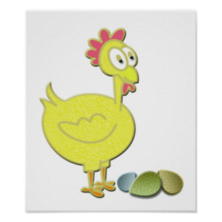 Fun Rooster Chicken and Eggs Art Poster