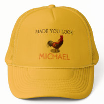 Fun Rooster Chicken Male Yellow Personal Trucker Hat