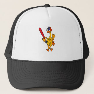 Fun Rubber Chicken Playing Baseball Cartoon Trucker Hat