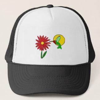 Fun Ruby Throated Hummingbird and Red Zinnia Flowe Trucker Hat