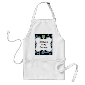 Fun Sage and Periwinkle Geometric Shapes Pattern Adult Apron