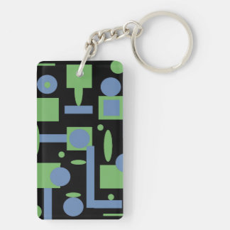 Fun Sage and Periwinkle Geometric Shapes Pattern Keychain
