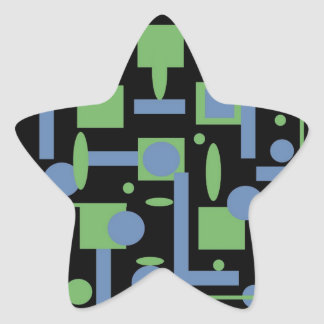 Fun Sage and Periwinkle Geometric Shapes Pattern Star Sticker