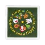 Fun Santa Claus and other Christmas characters, Acrylic Tray
