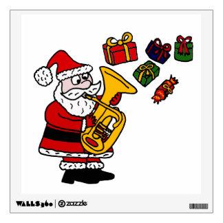 Fun Santa Claus Playing Tuba Christmas Art Wall Decals