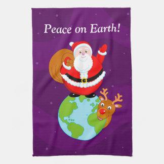 "Fun Santa Claus & Rudolph ""Peace on Earth"" cartoon Towel"