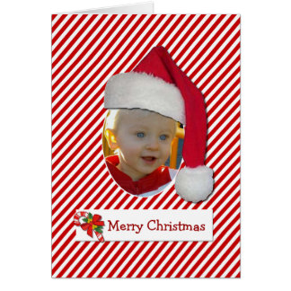 Fun Santa Hat Chrismtas Photo Card