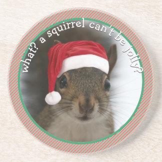 Fun Santa Squirrel Speaks Sarcasm Christmas Sandstone Coaster