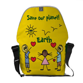 Fun Save our planet Earth Yellow Messenger Bag
