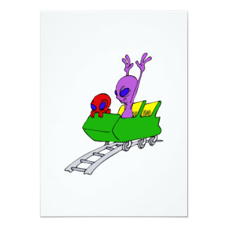 Fun & Scared Alien on Coaster Card