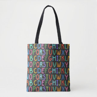 Fun school alphabet print all over tote bag