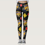 "Fun School Bus Driver Party Pattern Leggings<br><div class=""desc"">Fantastic leggings with a fun School Bus Pattern. Or You can design them yourself. This great pattern is adorned with kids holding balloons, a stop sign, and a &quot;School Bus Stop Ahead&quot; sign. There is even a puppy. Customize with any color background you like. New filters like black and white...</div>"