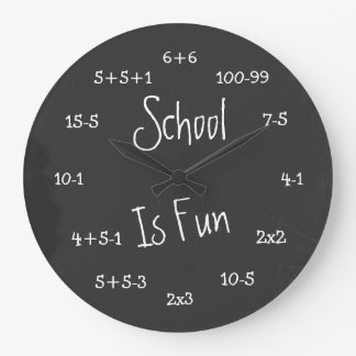 Fun School Is Fun Geek Math Large Clock