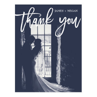 Fun Script Calligraphy Photo Wedding Thank You Postcard