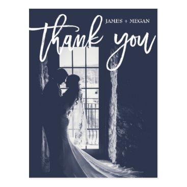 All_about_Wedding Fun Script Calligraphy Photo Wedding Thank You Postcard