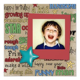 Fun Scripts Birthday Star  Photo Invitation