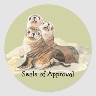 "Fun ""Seals of Approval"" with Cute Watercolor Seals Classic Round Sticker"