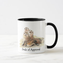 "Fun ""Seals of Approval"" with Cute Watercolor Seals Mug"