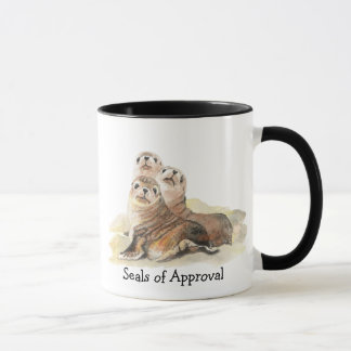 """Fun """"Seals of Approval"""" with Cute Watercolor Seals Mug"""